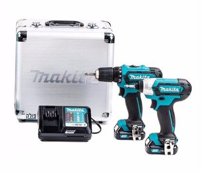 Снимка на ПРОМО!12V Акумулаторен Винтоверт+Акумулаторен Гайковерт Makita CLX201X,куфар, 2 батерии х 1.5 Ah + зарядно
