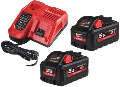 Снимка на Акумулаторен стартов сет Milwaukee M18HNRG-552 NRG, 2 батерии 5.5 Ah + Бонус батерия 12V , 3Ah,4933464713